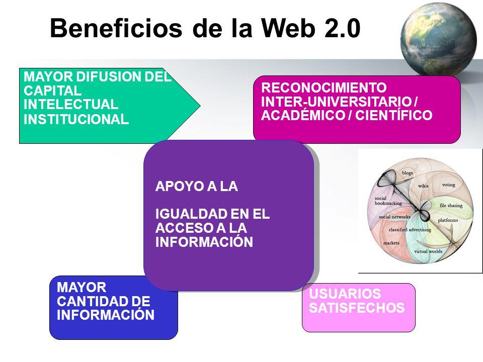 Beneficios de la Web 2.0 RECONOCIMIENTO INTER-UNIVERSITARIO / ACADÉMICO / CIENTÍFICO USUARIOS SATISFECHOS MAYOR DIFUSION DEL CAPITAL INTELECTUAL INSTI