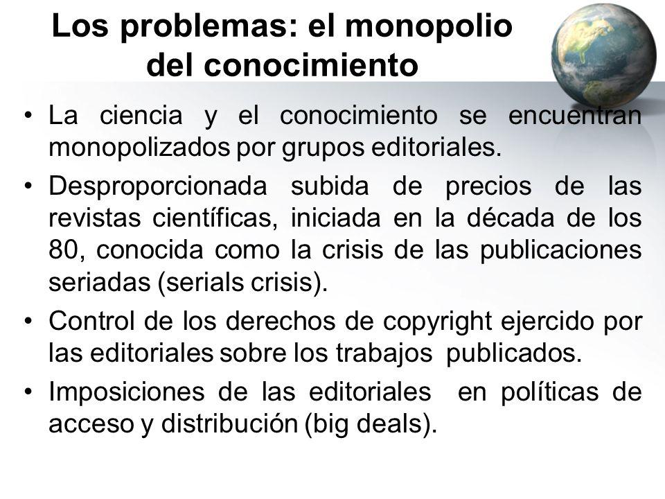 Los problemas: el monopolio del conocimiento La ciencia y el conocimiento se encuentran monopolizados por grupos editoriales. Desproporcionada subida