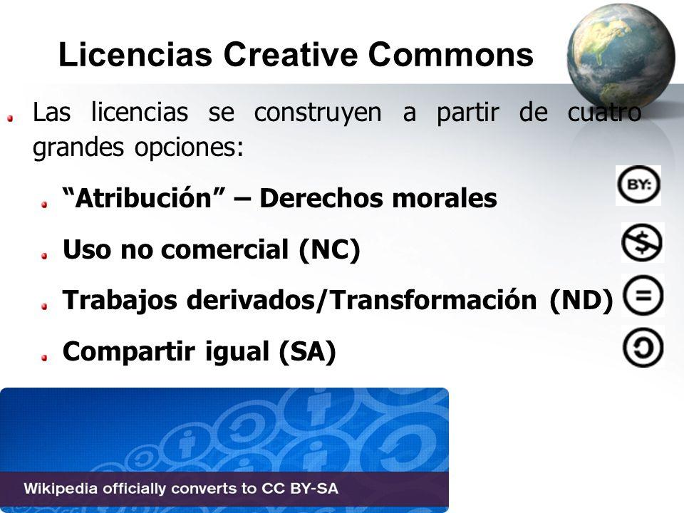 Licencias Creative Commons Las licencias se construyen a partir de cuatro grandes opciones: Atribución – Derechos morales Uso no comercial (NC) Trabaj