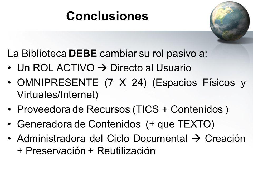Conclusiones La Biblioteca DEBE cambiar su rol pasivo a: Un ROL ACTIVO Directo al Usuario OMNIPRESENTE (7 X 24) (Espacios Físicos y Virtuales/Internet