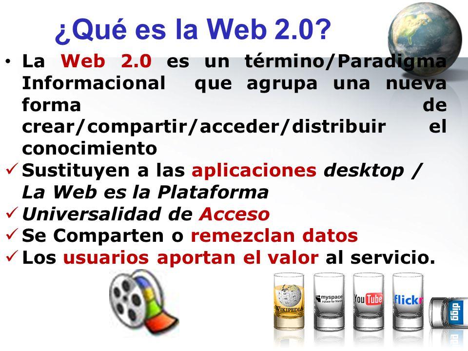¿Qué es la Web 2.0? La Web 2.0 es un término/Paradigma Informacional que agrupa una nueva forma de crear/compartir/acceder/distribuir el conocimiento