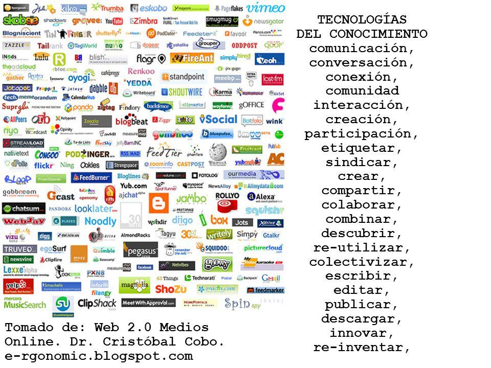Tomado de: Web 2.0 Medios Online. Dr. Cristóbal Cobo. e-rgonomic.blogspot.com TECNOLOGÍAS DEL CONOCIMIENTO comunicación, conversación, conexión, comun