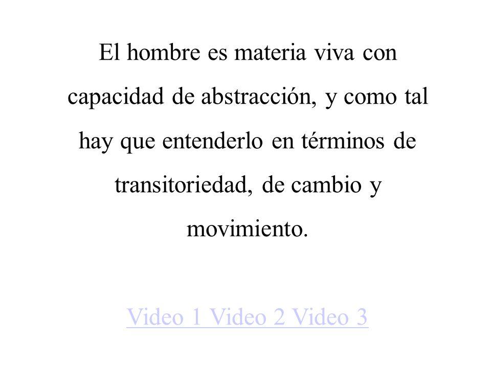 El hombre es materia viva con capacidad de abstracción, y como tal hay que entenderlo en términos de transitoriedad, de cambio y movimiento. Video 1 V