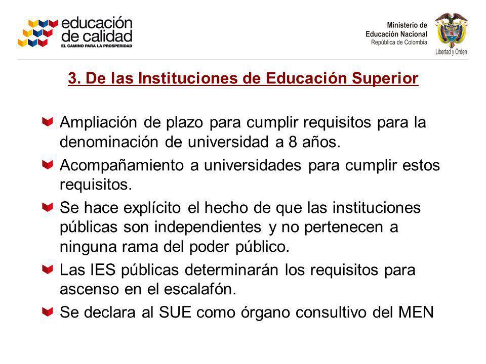 3. De las Instituciones de Educación Superior Ampliación de plazo para cumplir requisitos para la denominación de universidad a 8 años. Acompañamiento