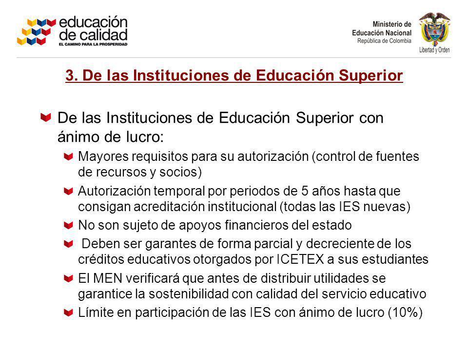 3. De las Instituciones de Educación Superior De las Instituciones de Educación Superior con ánimo de lucro: Mayores requisitos para su autorización (