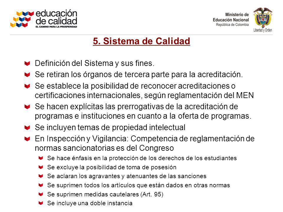 5. Sistema de Calidad Definición del Sistema y sus fines.