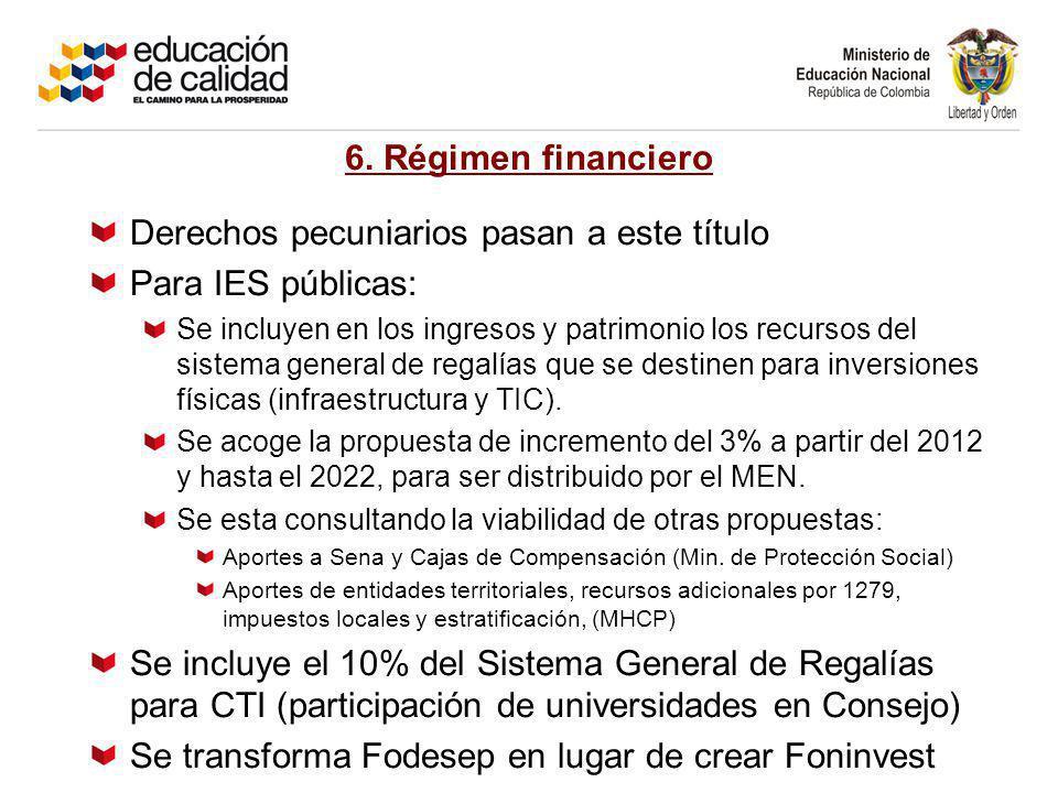 6. Régimen financiero Derechos pecuniarios pasan a este título Para IES públicas: Se incluyen en los ingresos y patrimonio los recursos del sistema ge