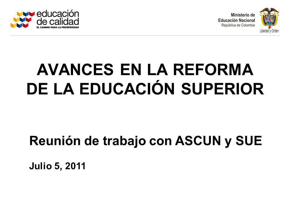 AVANCES EN LA REFORMA DE LA EDUCACIÓN SUPERIOR Reunión de trabajo con ASCUN y SUE Julio 5, 2011