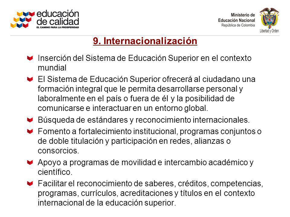 9. Internacionalización Inserción del Sistema de Educación Superior en el contexto mundial El Sistema de Educación Superior ofrecerá al ciudadano una