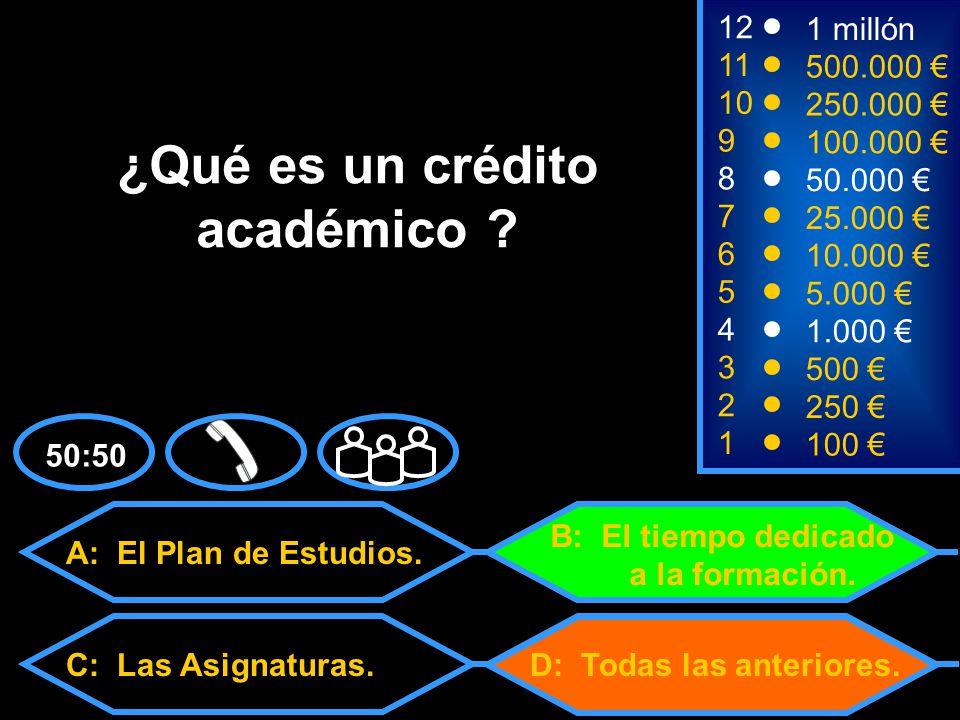 50:50 2 250 1 100 8 7 6 5 4 3 50.000 25.000 10.000 5.000 1.000 500 12 11 10 9 1 millón 500.000 250.000 100.000 A: El Plan de Estudios.