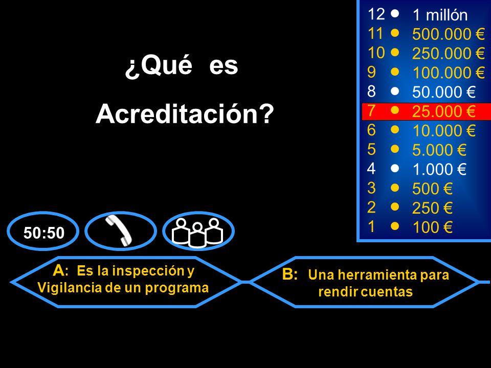 A : Es la inspección y Vigilancia de un programa C: Una forma de reafirmar la función de la Universidad D: B y C son correctas B: Una herramienta para rendir cuentas 2 250 8 50.000 12 11 10 9 1 millón 500.000 250.000 100.000 ¿Qué es Acreditación.