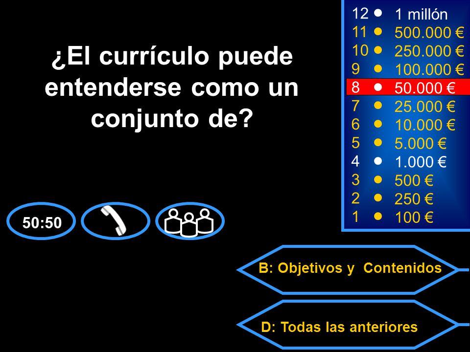 A: Competencias C: Metodologías y formas de evaluación D: Todas las anteriores B: Objetivos y Contenidos 2 250 12 11 10 9 1 millón 500.000 250.000 100.000 ¿El currículo puede entenderse como un conjunto de.