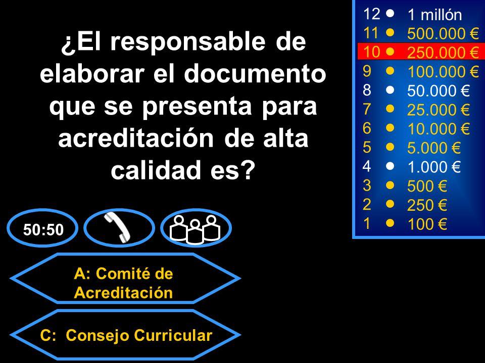 A: Comité de Acreditación C: Consejo CurricularD: Todas las anteriores B: Consejo de facultad 2 250 8 7 50.000 25.000 12 11 9 1 millón 500.000 100.000 ¿El responsable de elaborar el documento que se presenta para acreditación de alta calidad es.