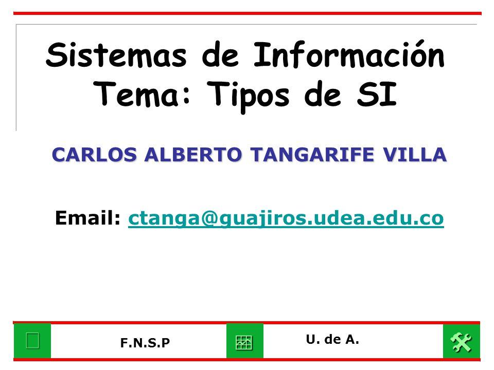 Sistemas de Información Tema: Tipos de SI CARLOS ALBERTO TANGARIFE VILLA Email: ctanga@guajiros.udea.edu.coctanga@guajiros.udea.edu.co U. de A. F.N.S.