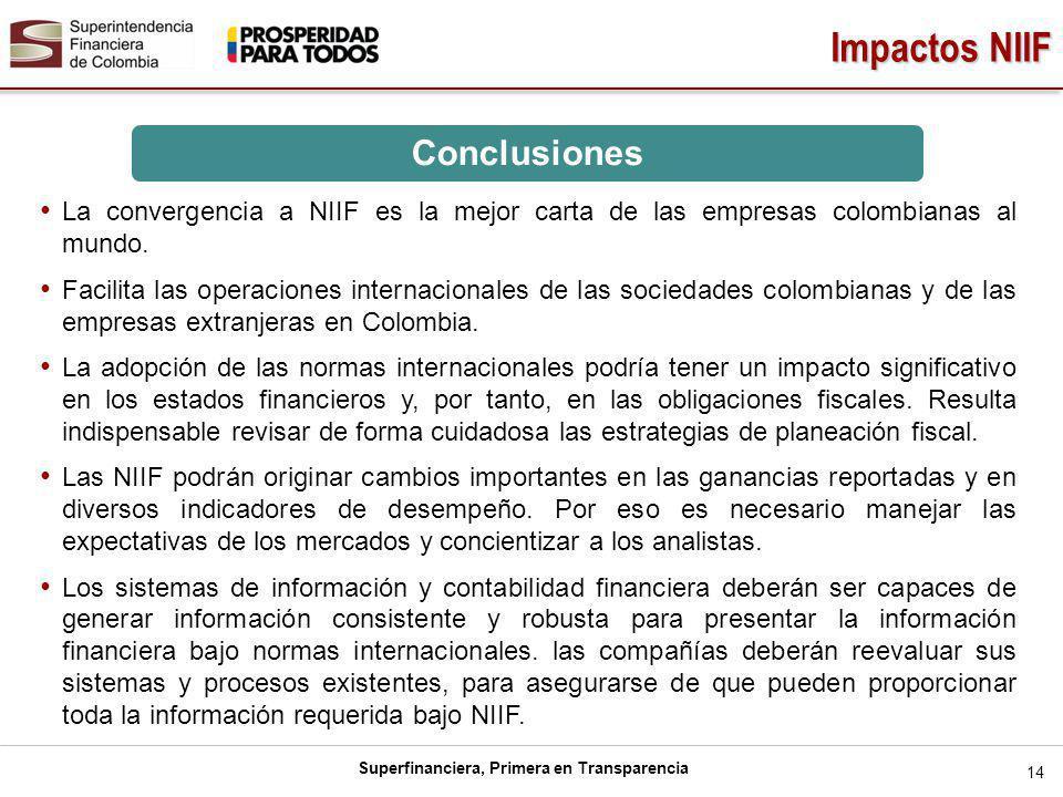 Superfinanciera, Primera en Transparencia Impactos NIIF 14 La convergencia a NIIF es la mejor carta de las empresas colombianas al mundo. Facilita las