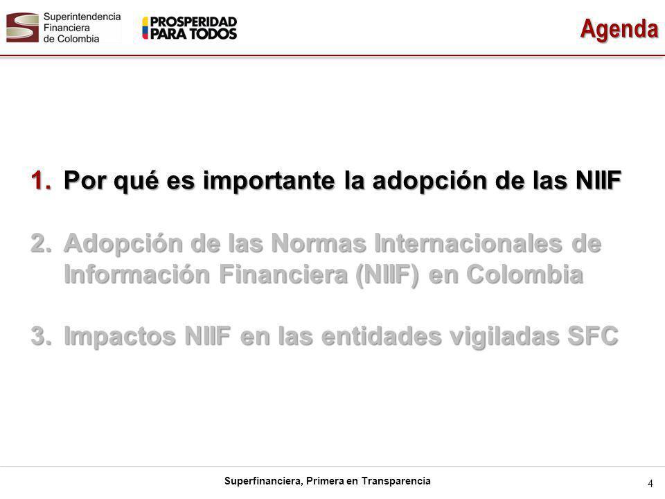 Superfinanciera, Primera en Transparencia Agenda 4 1.Por qué es importante la adopción de las NIIF 2.Adopción de las Normas Internacionales de Información Financiera (NIIF) en Colombia 3.Impactos NIIF en las entidades vigiladas SFC