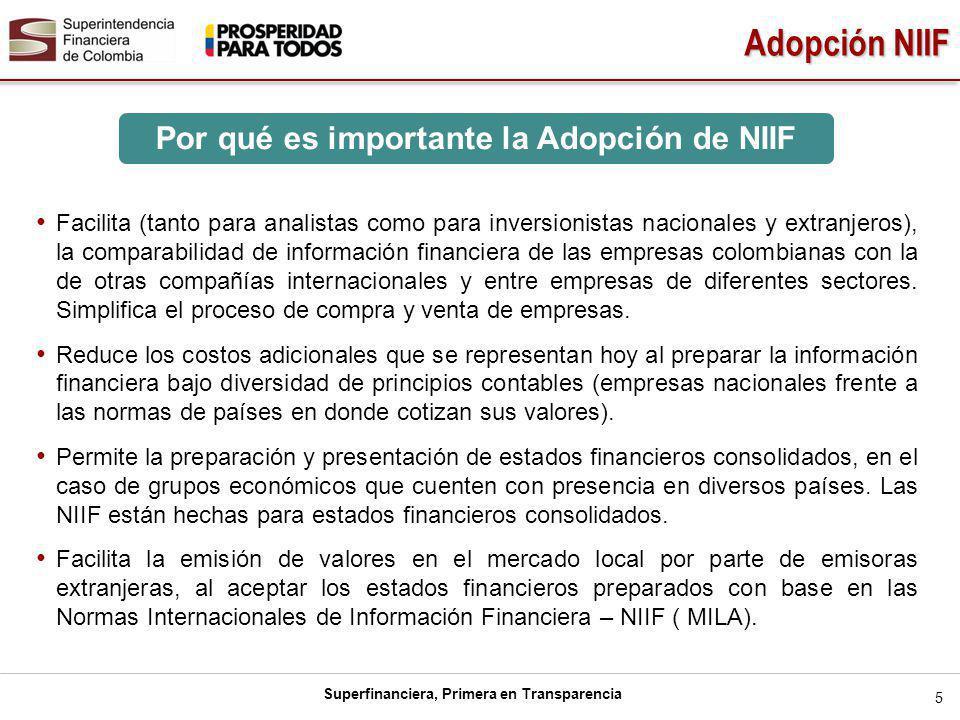 Superfinanciera, Primera en Transparencia 5 Adopción NIIF Facilita (tanto para analistas como para inversionistas nacionales y extranjeros), la comparabilidad de información financiera de las empresas colombianas con la de otras compañías internacionales y entre empresas de diferentes sectores.