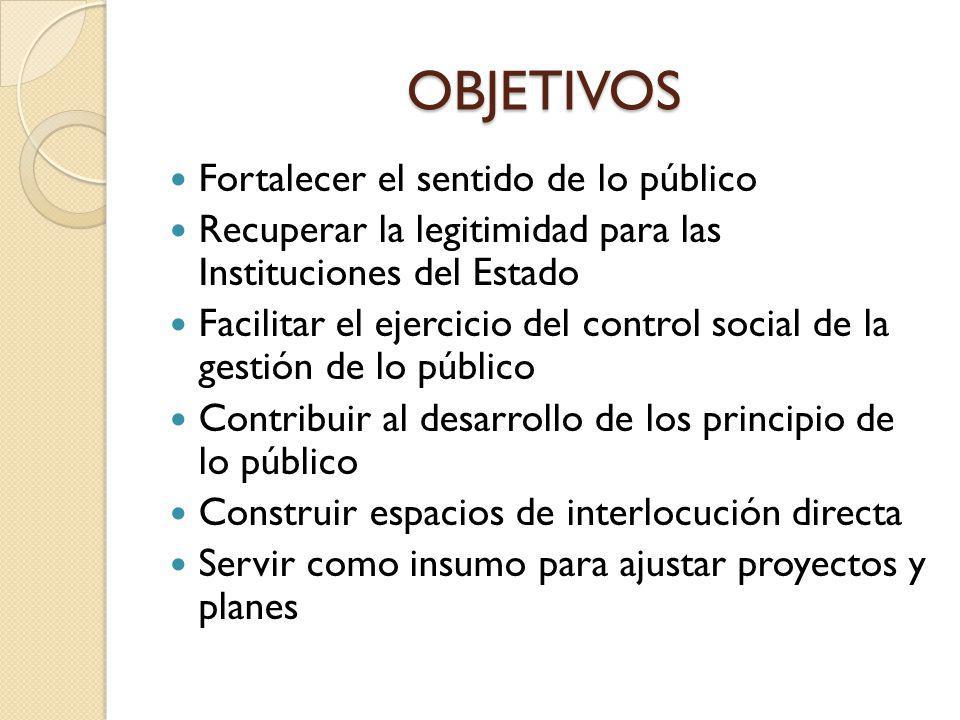 OBJETIVOS Fortalecer el sentido de lo público Recuperar la legitimidad para las Instituciones del Estado Facilitar el ejercicio del control social de