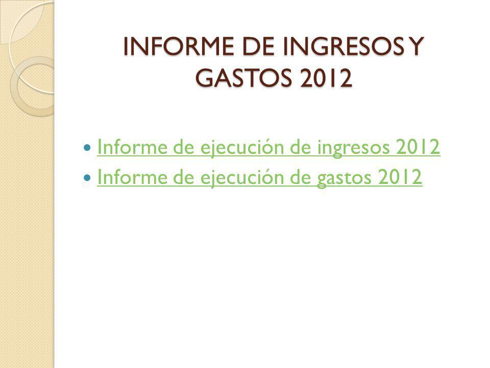 INFORME DE INGRESOS Y GASTOS 2012 Informe de ejecución de ingresos 2012 Informe de ejecución de gastos 2012