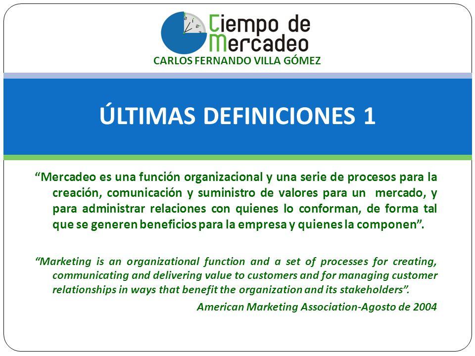 ÚLTIMAS DEFINICIONES 1 Mercadeo es una función organizacional y una serie de procesos para la creación, comunicación y suministro de valores para un m