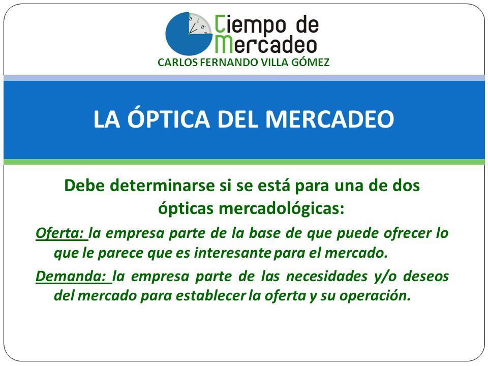 LA ÓPTICA DEL MERCADEO Debe determinarse si se está para una de dos ópticas mercadológicas: Oferta: la empresa parte de la base de que puede ofrecer l