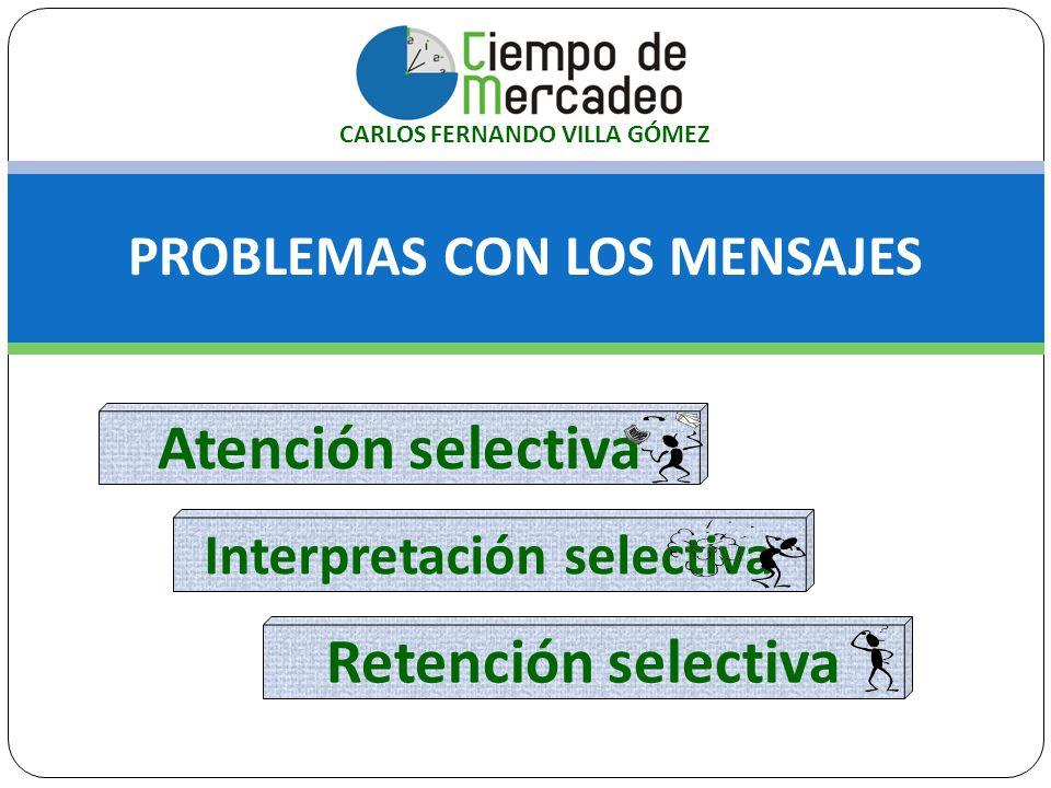 PROBLEMAS CON LOS MENSAJES Atención selectiva Interpretación selectiva Retención selectiva CARLOS FERNANDO VILLA GÓMEZ