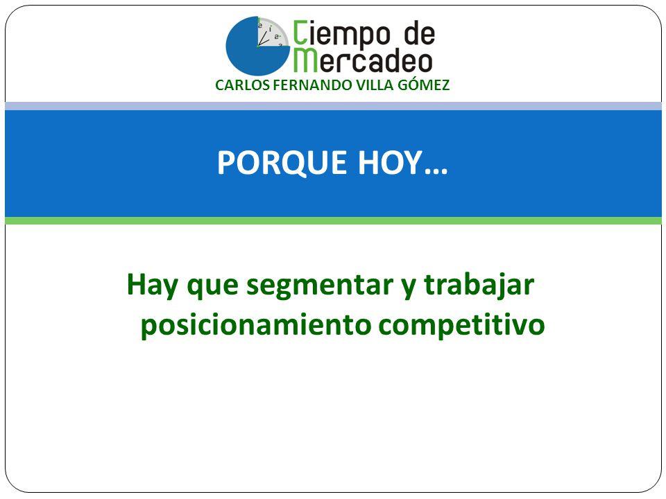 PORQUE HOY… Hay que segmentar y trabajar posicionamiento competitivo CARLOS FERNANDO VILLA GÓMEZ