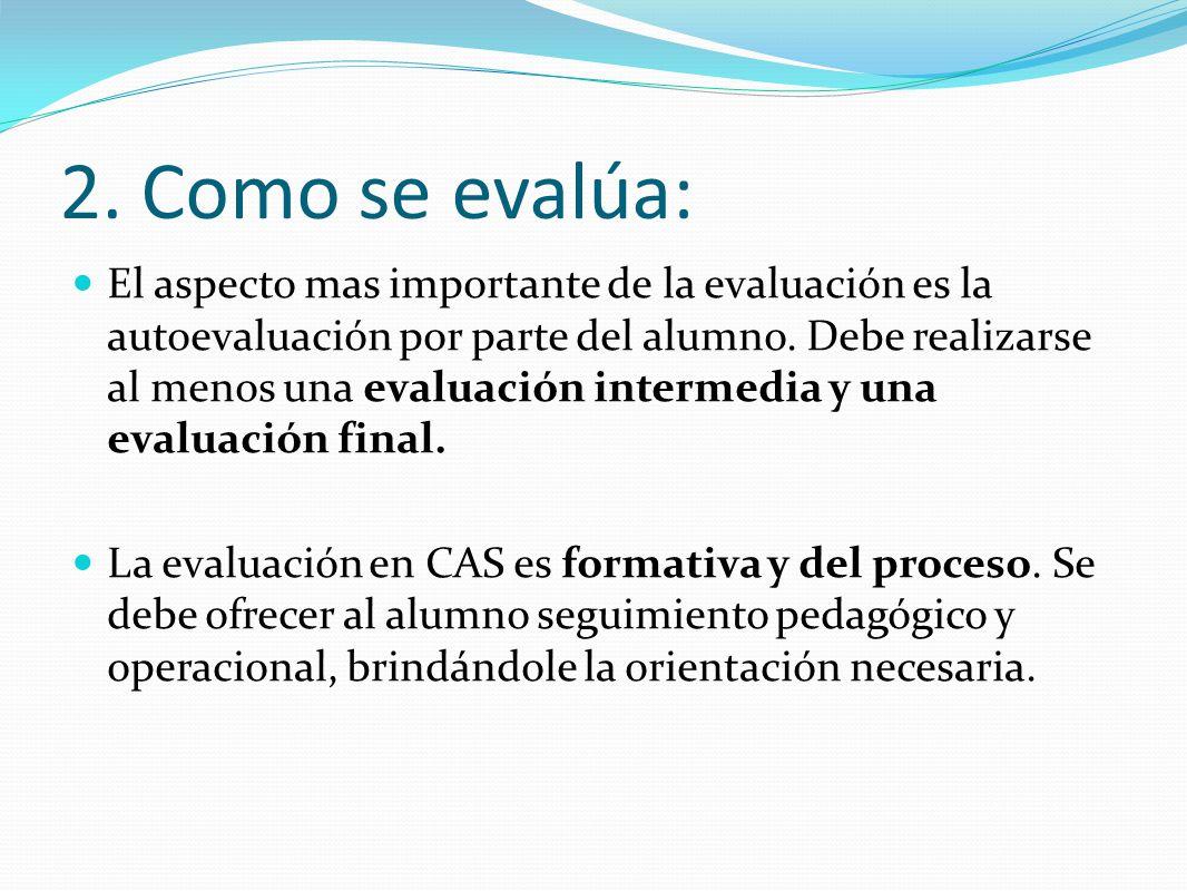 2. Como se evalúa: El aspecto mas importante de la evaluación es la autoevaluación por parte del alumno. Debe realizarse al menos una evaluación inter