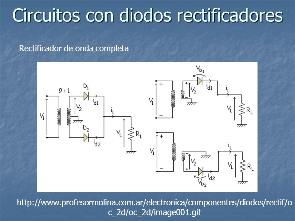 Circuitos con diodos rectificadores Rectificador de onda completa http://www.profesormolina.com.ar/electronica/componentes/diodos/rectif/o c_2d/oc_2d/