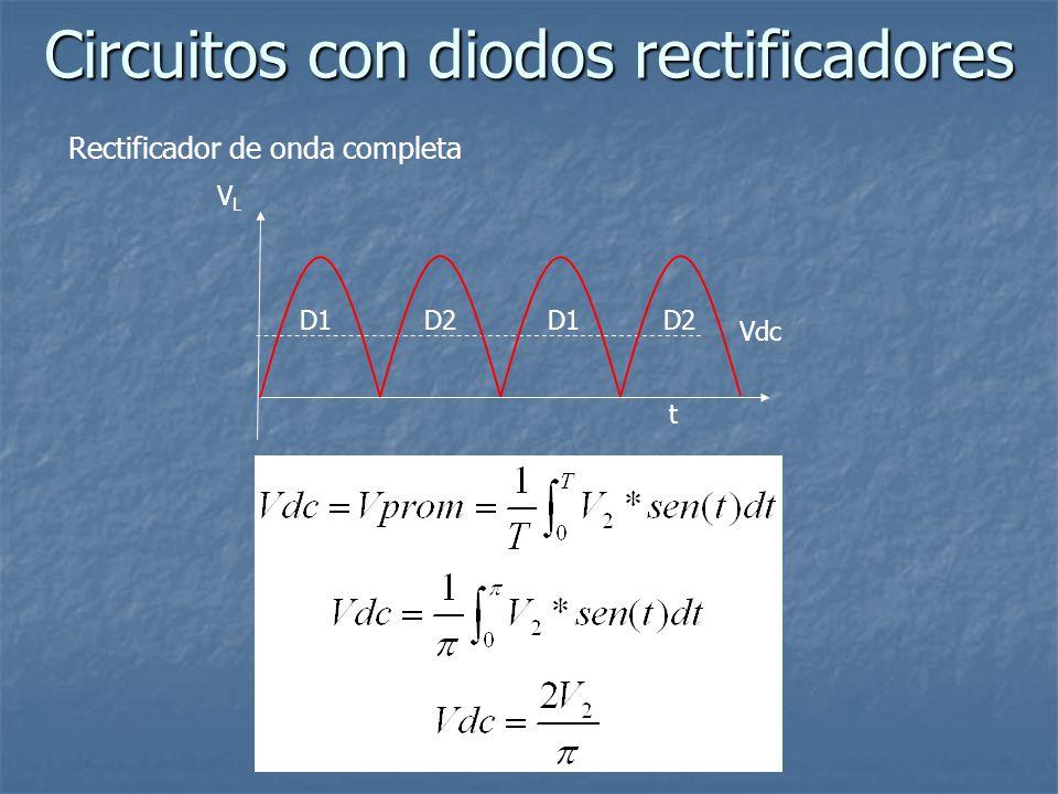 Circuitos con diodos rectificadores Rectificador de onda completa VLVL t Vdc D1 D2