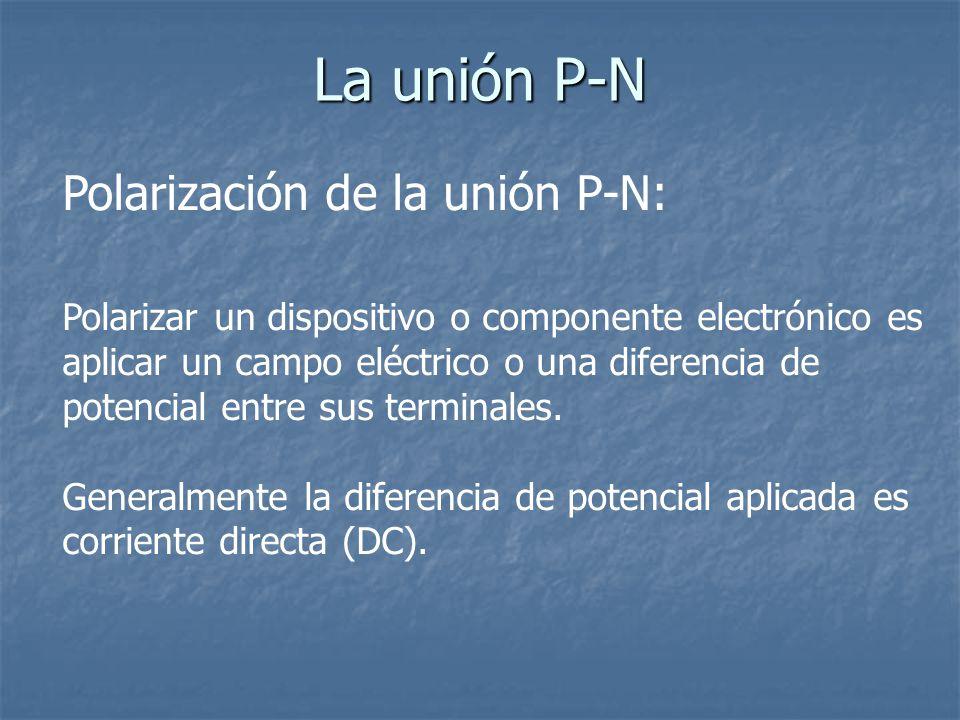 La unión P-N Polarización de la unión P-N: Polarizar un dispositivo o componente electrónico es aplicar un campo eléctrico o una diferencia de potenci
