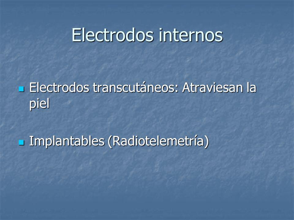 Electrodos internos Electrodos transcutáneos: Atraviesan la piel Electrodos transcutáneos: Atraviesan la piel Implantables (Radiotelemetría) Implantables (Radiotelemetría)