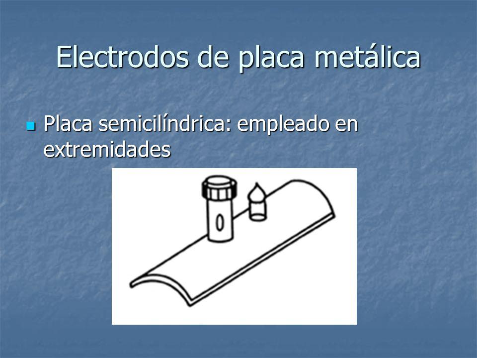 Electrodos de placa metálica Placa semicilíndrica: empleado en extremidades Placa semicilíndrica: empleado en extremidades