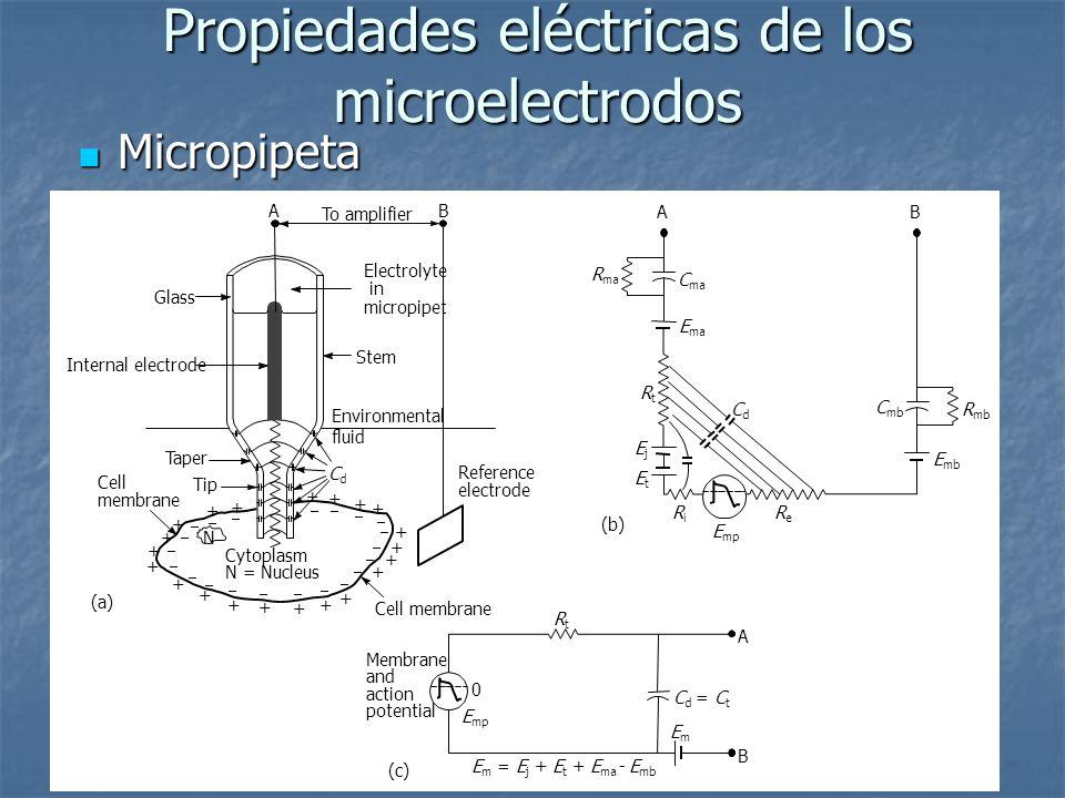 Propiedades eléctricas de los microelectrodos Micropipeta Micropipeta Cell membrane Tip + + + + + + + + + + + + + + + + + + + + + Taper Internal electrode Glass AB To amplifier Electrolyte in micropipet Stem (a) Reference electrode Cell membrane Cytoplasm N = Nucleus N Environmental fluid CdCd E ma R ma RtRt RiRi ReRe (b) E mp E mb R mb C mb EjEj EtEt C ma CdCd AB RtRt EmEm A B Membrane and action potential (c) E mp E m = E j + E t + E ma - E mb C d = C t 0