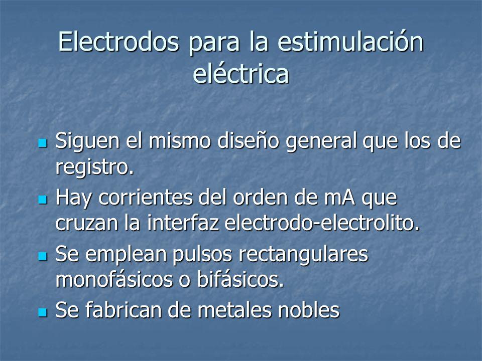 Electrodos para la estimulación eléctrica Siguen el mismo diseño general que los de registro.