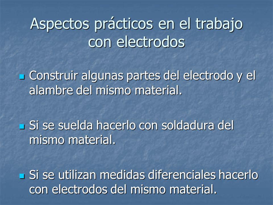Aspectos prácticos en el trabajo con electrodos Construir algunas partes del electrodo y el alambre del mismo material.