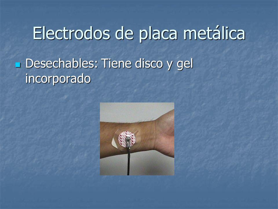 Electrodos de placa metálica Desechables: Tiene disco y gel incorporado Desechables: Tiene disco y gel incorporado