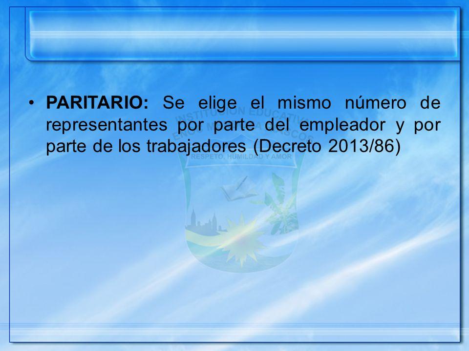 PARITARIO: Se elige el mismo número de representantes por parte del empleador y por parte de los trabajadores (Decreto 2013/86)