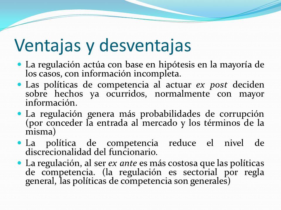 Ventajas y desventajas La regulación actúa con base en hipótesis en la mayoría de los casos, con información incompleta. Las políticas de competencia
