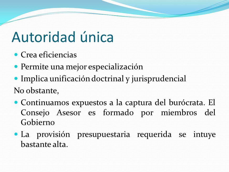 Autoridad única Crea eficiencias Permite una mejor especialización Implica unificación doctrinal y jurisprudencial No obstante, Continuamos expuestos