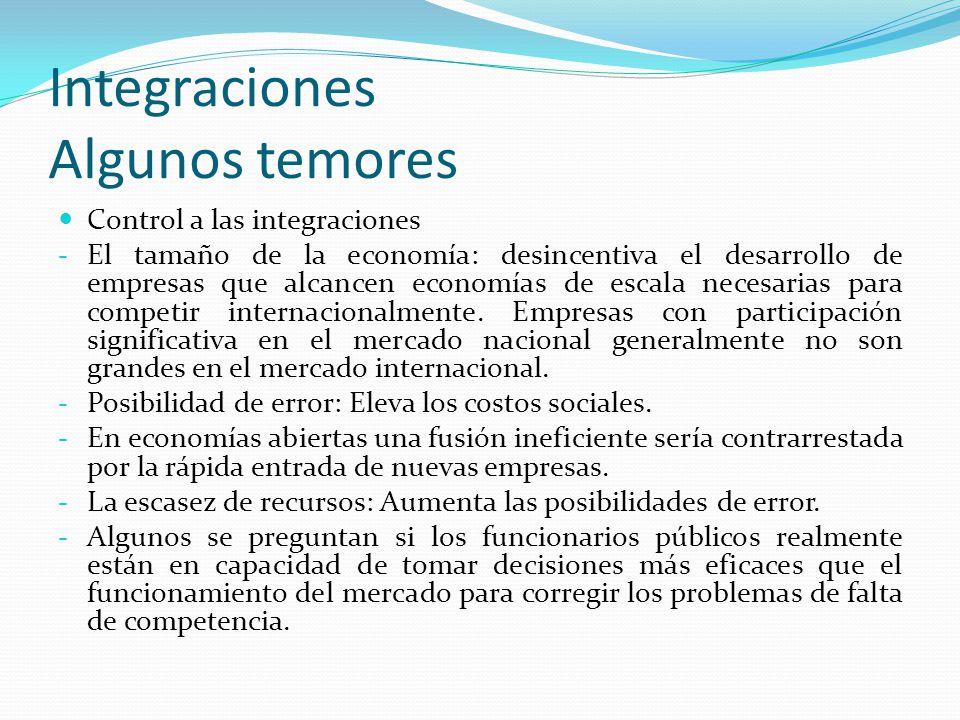 Integraciones Algunos temores Control a las integraciones - El tamaño de la economía: desincentiva el desarrollo de empresas que alcancen economías de