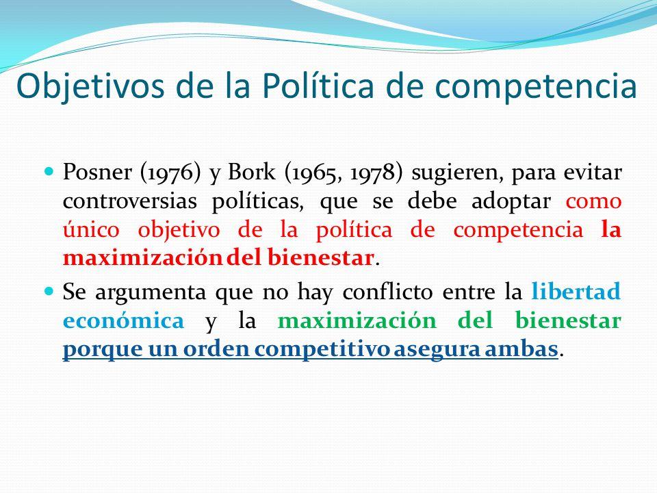 Objetivos de la Política de competencia Posner (1976) y Bork (1965, 1978) sugieren, para evitar controversias políticas, que se debe adoptar como únic