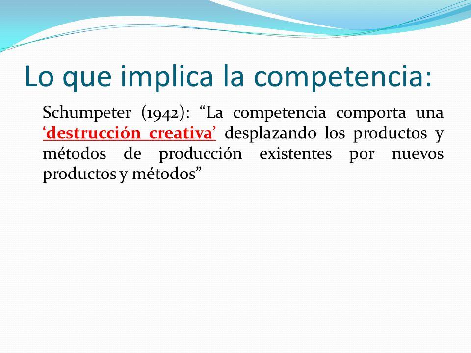 Lo que implica la competencia: Schumpeter (1942): La competencia comporta una destrucción creativa desplazando los productos y métodos de producción e