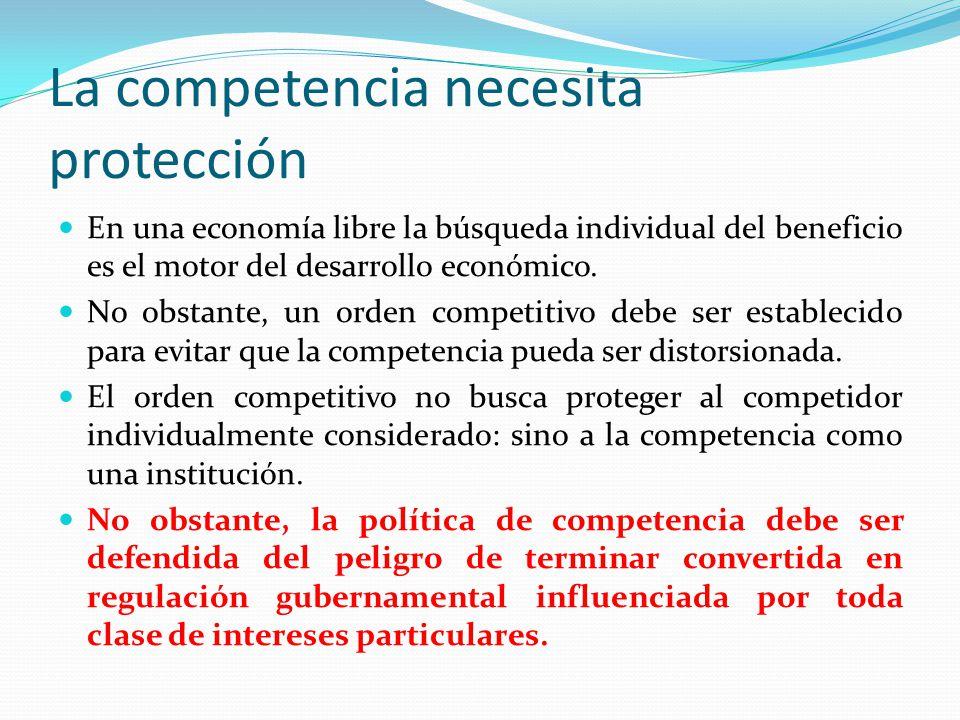 La competencia necesita protección En una economía libre la búsqueda individual del beneficio es el motor del desarrollo económico. No obstante, un or