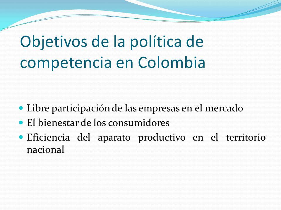 Objetivos de la política de competencia en Colombia Libre participación de las empresas en el mercado El bienestar de los consumidores Eficiencia del
