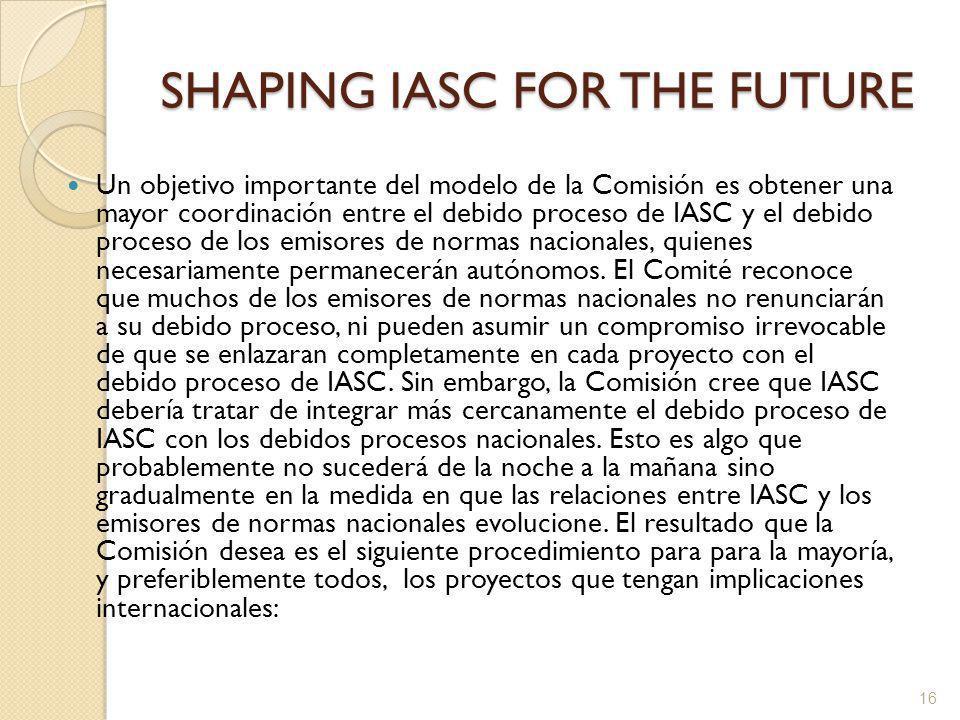 SHAPING IASC FOR THE FUTURE Un objetivo importante del modelo de la Comisión es obtener una mayor coordinación entre el debido proceso de IASC y el debido proceso de los emisores de normas nacionales, quienes necesariamente permanecerán autónomos.