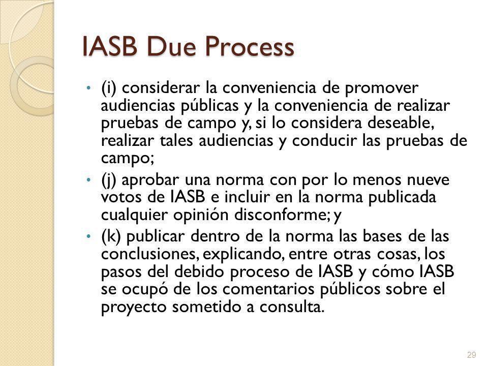 IASB Due Process (i) considerar la conveniencia de promover audiencias públicas y la conveniencia de realizar pruebas de campo y, si lo considera deseable, realizar tales audiencias y conducir las pruebas de campo; (j) aprobar una norma con por lo menos nueve votos de IASB e incluir en la norma publicada cualquier opinión disconforme; y (k) publicar dentro de la norma las bases de las conclusiones, explicando, entre otras cosas, los pasos del debido proceso de IASB y cómo IASB se ocupó de los comentarios públicos sobre el proyecto sometido a consulta.