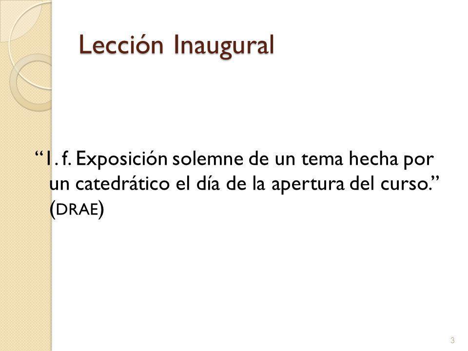 Lección Inaugural 1. f.
