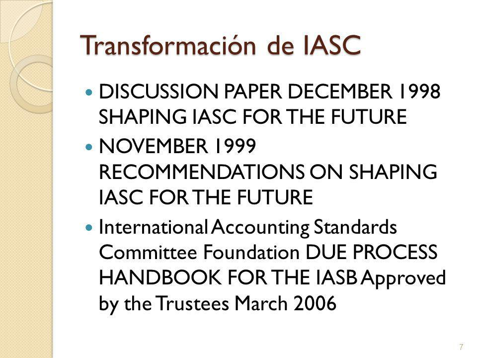 Transformación de IASC DISCUSSION PAPER DECEMBER 1998 SHAPING IASC FOR THE FUTURE NOVEMBER 1999 RECOMMENDATIONS ON SHAPING IASC FOR THE FUTURE International Accounting Standards Committee Foundation DUE PROCESS HANDBOOK FOR THE IASB Approved by the Trustees March 2006 7