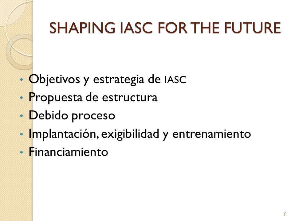 SHAPING IASC FOR THE FUTURE Objetivos y estrategia de IASC Propuesta de estructura Debido proceso Implantación, exigibilidad y entrenamiento Financiamiento 8